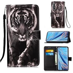 Black and White Tiger Matte Leather Wallet Phone Case for Oppo Find X2 Neo