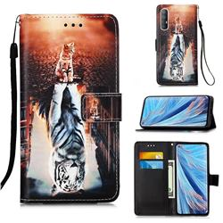 Cat and Tiger Matte Leather Wallet Phone Case for Oppo Find X2 Neo