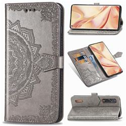 Embossing Imprint Mandala Flower Leather Wallet Case for Oppo Find X2 Pro - Gray