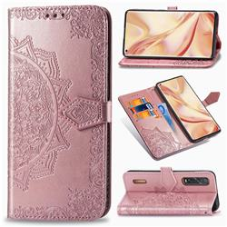 Embossing Imprint Mandala Flower Leather Wallet Case for Oppo Find X2 Pro - Rose Gold