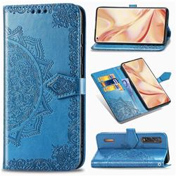 Embossing Imprint Mandala Flower Leather Wallet Case for Oppo Find X2 Pro - Blue
