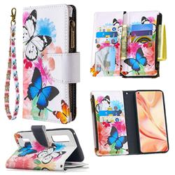 Vivid Flying Butterflies Binfen Color BF03 Retro Zipper Leather Wallet Phone Case for Oppo Find X2 Pro