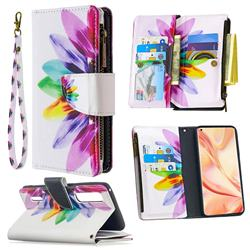 Seven-color Flowers Binfen Color BF03 Retro Zipper Leather Wallet Phone Case for Oppo Find X2 Pro