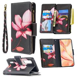 Lotus Flower Binfen Color BF03 Retro Zipper Leather Wallet Phone Case for Oppo Find X2 Pro