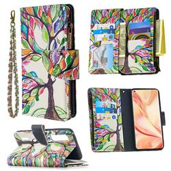 The Tree of Life Binfen Color BF03 Retro Zipper Leather Wallet Phone Case for Oppo Find X2 Pro