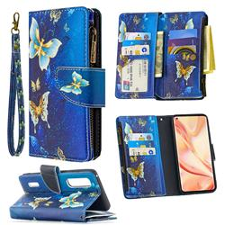 Golden Butterflies Binfen Color BF03 Retro Zipper Leather Wallet Phone Case for Oppo Find X2 Pro