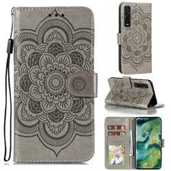 Intricate Embossing Datura Solar Leather Wallet Case for Oppo Find X2 Pro - Gray