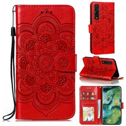 Intricate Embossing Datura Solar Leather Wallet Case for Oppo Find X2 Pro - Red