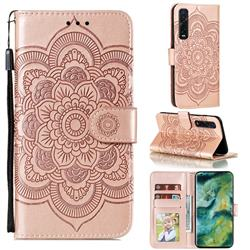 Intricate Embossing Datura Solar Leather Wallet Case for Oppo Find X2 Pro - Rose Gold