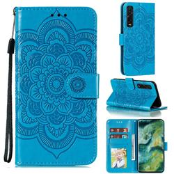 Intricate Embossing Datura Solar Leather Wallet Case for Oppo Find X2 Pro - Blue