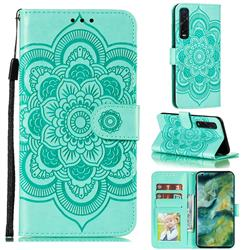 Intricate Embossing Datura Solar Leather Wallet Case for Oppo Find X2 Pro - Green