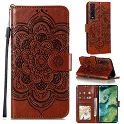 Intricate Embossing Datura Solar Leather Wallet Case for Oppo Find X2 Pro - Brown