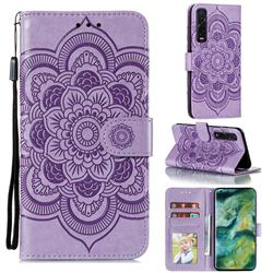 Intricate Embossing Datura Solar Leather Wallet Case for Oppo Find X2 Pro - Purple
