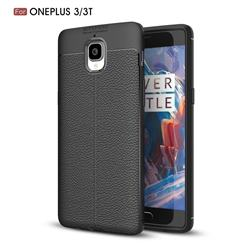 Luxury Auto Focus Litchi Texture Silicone TPU Back Cover for OnePlus 3T 3 - Black