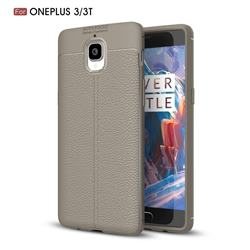 Luxury Auto Focus Litchi Texture Silicone TPU Back Cover for OnePlus 3T 3 - Gray