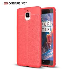 Luxury Auto Focus Litchi Texture Silicone TPU Back Cover for OnePlus 3T 3 - Red