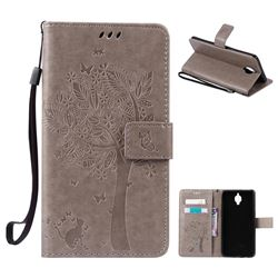 Embossing Butterfly Tree Leather Wallet Case for OnePlus 3T 3 - Grey