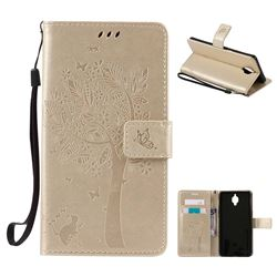 Embossing Butterfly Tree Leather Wallet Case for OnePlus 3T 3 - Champagne