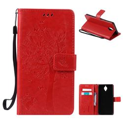 Embossing Butterfly Tree Leather Wallet Case for OnePlus 3T 3 - Red