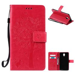 Embossing Butterfly Tree Leather Wallet Case for OnePlus 3T 3 - Rose