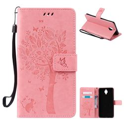 Embossing Butterfly Tree Leather Wallet Case for OnePlus 3T 3 - Pink