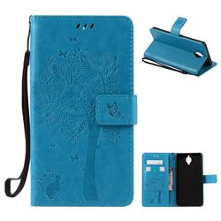 Embossing Butterfly Tree Leather Wallet Case for OnePlus 3T 3 - Blue