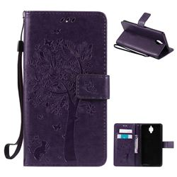 Embossing Butterfly Tree Leather Wallet Case for OnePlus 3T 3 - Purple