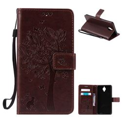 Embossing Butterfly Tree Leather Wallet Case for OnePlus 3T 3 - Coffee