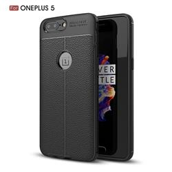 Luxury Auto Focus Litchi Texture Silicone TPU Back Cover for OnePlus 5 - Black