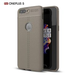 Luxury Auto Focus Litchi Texture Silicone TPU Back Cover for OnePlus 5 - Gray