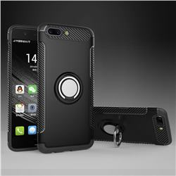 Armor Anti Drop Carbon PC + Silicon Invisible Ring Holder Phone Case for OnePlus 5 - Black