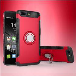 Armor Anti Drop Carbon PC + Silicon Invisible Ring Holder Phone Case for OnePlus 5 - Red