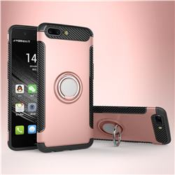 Armor Anti Drop Carbon PC + Silicon Invisible Ring Holder Phone Case for OnePlus 5 - Rose Gold