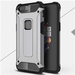 King Kong Armor Premium Shockproof Dual Layer Rugged Hard Cover for OnePlus 5 - Silver Grey