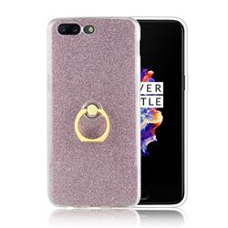 Luxury Soft TPU Glitter Back Ring Cover with 360 Rotate Finger Holder Buckle for OnePlus 5 - Pink