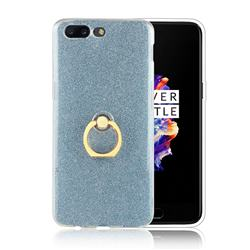 Luxury Soft TPU Glitter Back Ring Cover with 360 Rotate Finger Holder Buckle for OnePlus 5 - Blue