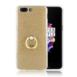Luxury Soft TPU Glitter Back Ring Cover with 360 Rotate Finger Holder Buckle for OnePlus 5 - Golden