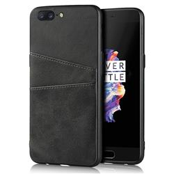Simple Calf Card Slots Mobile Phone Back Cover for OnePlus 5 - Black
