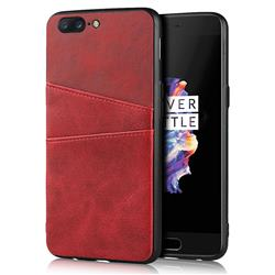Simple Calf Card Slots Mobile Phone Back Cover for OnePlus 5 - Red