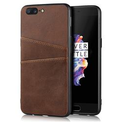 Simple Calf Card Slots Mobile Phone Back Cover for OnePlus 5 - Coffee