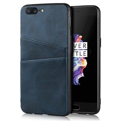 Simple Calf Card Slots Mobile Phone Back Cover for OnePlus 5 - Blue