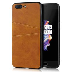Simple Calf Card Slots Mobile Phone Back Cover for OnePlus 5 - Yellow