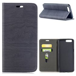 Tree Bark Pattern Automatic suction Leather Wallet Case for OnePlus 5 - Gray