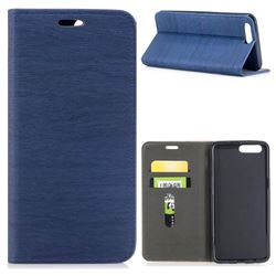 Tree Bark Pattern Automatic suction Leather Wallet Case for OnePlus 5 - Blue