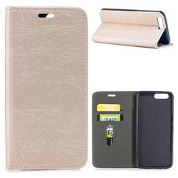Tree Bark Pattern Automatic suction Leather Wallet Case for OnePlus 5 - Champagne Gold