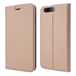Ultra Slim Card Magnetic Automatic Suction Leather Wallet Case for OnePlus 5 - Rose Gold