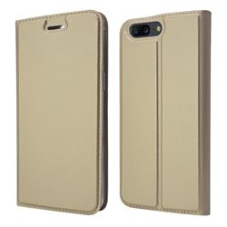 Ultra Slim Card Magnetic Automatic Suction Leather Wallet Case for OnePlus 5 - Champagne