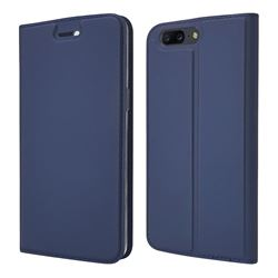 Ultra Slim Card Magnetic Automatic Suction Leather Wallet Case for OnePlus 5 - Royal Blue