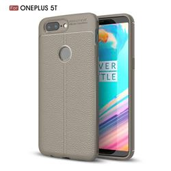 Luxury Auto Focus Litchi Texture Silicone TPU Back Cover for OnePlus 5T - Gray