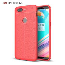 Luxury Auto Focus Litchi Texture Silicone TPU Back Cover for OnePlus 5T - Red